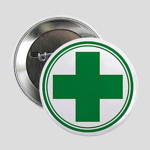 """Green Cross 2.25"""" Button"""