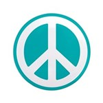 """Classic Teal Peace Sign 3.5"""" Button"""