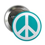 """Classic Teal Peace Sign 2.25"""" Button"""