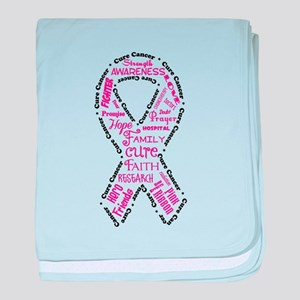 Pink Ribbon Words baby blanket
