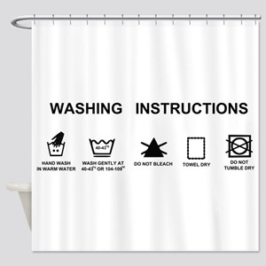 Washing instructions funny shower curtain
