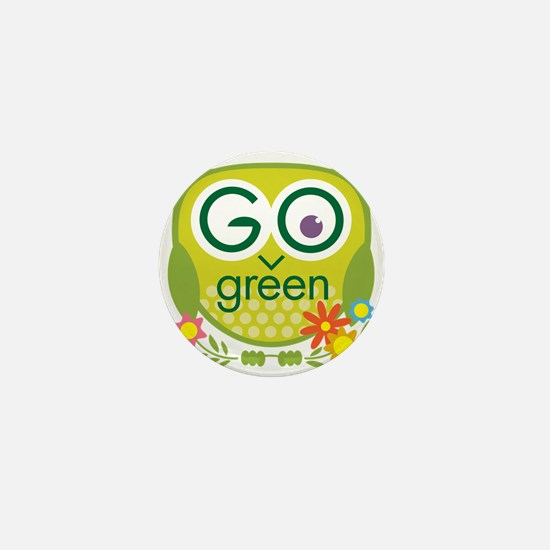 Go Green Owl Mini Button