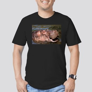 Happy Hippo Men's Fitted T-Shirt (dark)