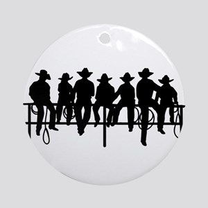 Cowboys on fence Ornament (Round)