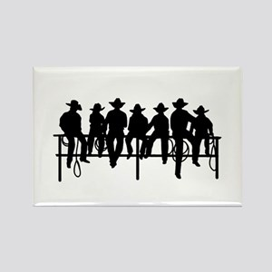 Cowboys on fence Rectangle Magnet