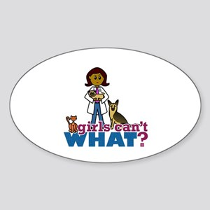 Veterinarian Girl Sticker (Oval)