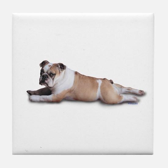 Lounging Bulldog Tile Coaster