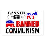 """""""God or Communism"""" Sticker (Rectangle)"""