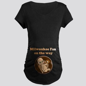 Milwaukee Fan on the way Maternity Dark T-Shirt