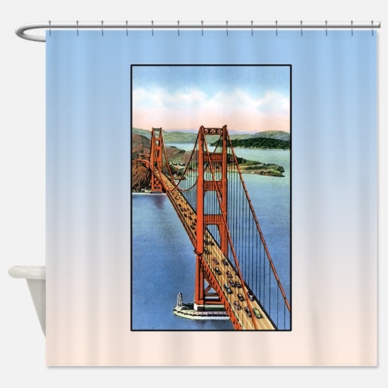 Vintage Golden Gate Bridge Shower Curtain