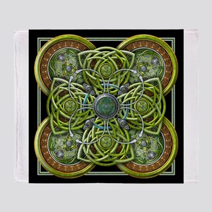 Green Celtic Tapestry Throw Blanket