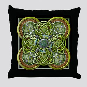 Green Celtic Tapestry Throw Pillow