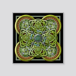 "Green Celtic Tapestry Square Sticker 3"" x 3"""