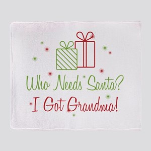 Santa I Got Grandma Throw Blanket