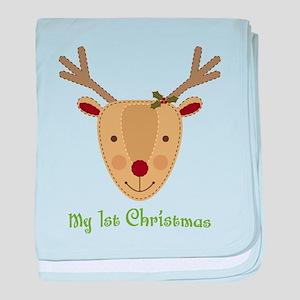 1st Christmas Reindeer baby blanket