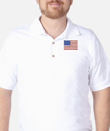 Watercolor USA Flag: Golf Shirt
