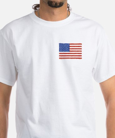Watercolor USA Flag: White T-Shirt