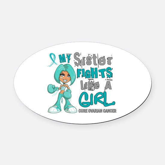 Fights Like a Girl 42.9 Ovarian Cancer Oval Car Ma