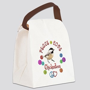 Peace Love CHICKADEES Canvas Lunch Bag