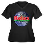 Relax Earth Women's Plus Size V-Neck Dark T-Shirt