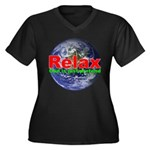 Relax Earth Women's Plus Size V-Neck Dark T-Shirt