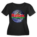 Relax Earth Women's Plus Size Scoop Neck Dark T-Sh