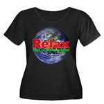 Relax Earth Women's Plus Size Scoop Neck Dark T-Sh