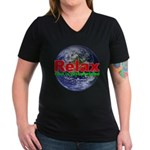 Relax Earth Women's V-Neck Dark T-Shirt