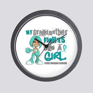 Fights Like a Girl 42.9 Ovarian Cancer Wall Clock