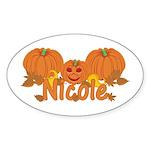 Halloween Pumpkin Nicole Sticker (Oval)