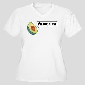 Avocado: Good Fat Women's Plus Size V-Neck T-Shirt