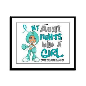 Fights Like a Girl 42.9 Ovarian Cancer Framed Pane