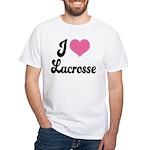 I Love Lacrosse White T-Shirt