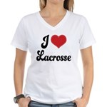 I Love Lacrosse Women's V-Neck T-Shirt