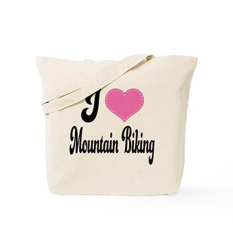 I Love Mountain Biking Tote Bag