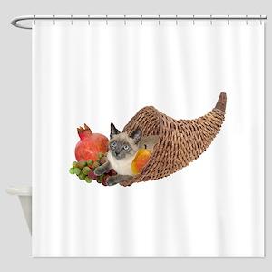 Cat in Cornucopia Shower Curtain