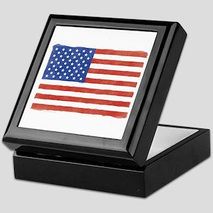 Watercolor USA Flag: Keepsake Box