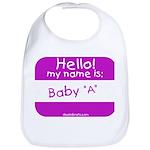 baby a nametag (pink) Bib
