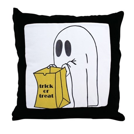 Trick or Treat Ghost Throw Pillow
