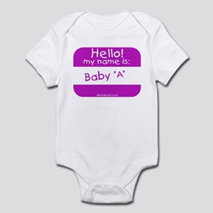 baby a nametag (pink) Infant Creeper