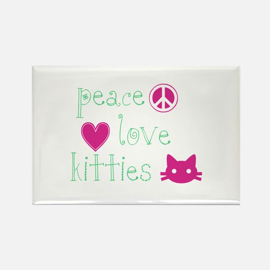 Peace Love Kitties Rectangle Magnet