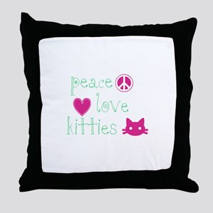 Peace Love Kitties Throw Pillow