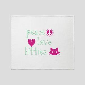 Peace Love Kitties Throw Blanket