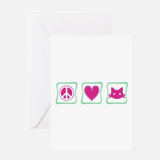 Peace Love Kitties Greeting Card