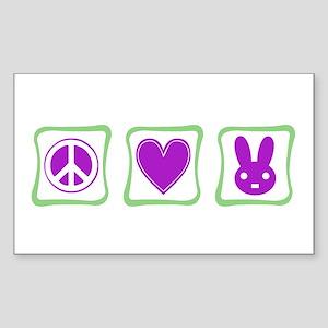 Peace Love Bunnies Sticker (Rectangle)