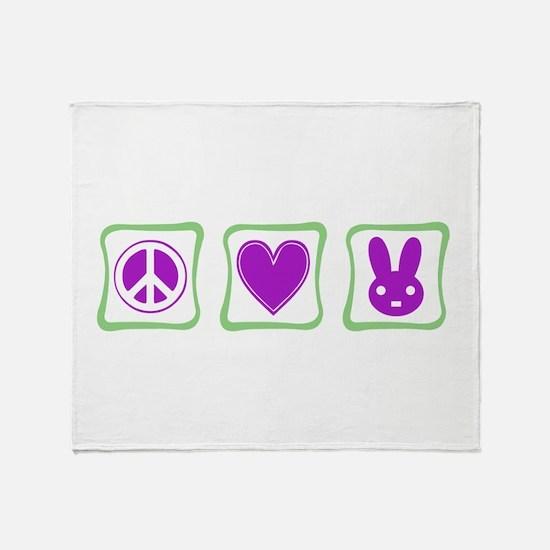 Peace Love Bunnies Throw Blanket