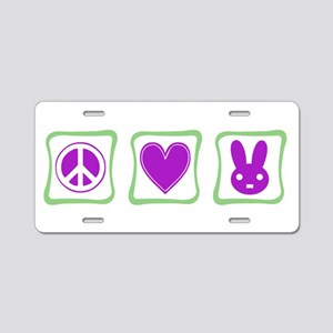 Peace Love Bunnies Aluminum License Plate