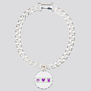 Peace Love Bunnies Charm Bracelet, One Charm