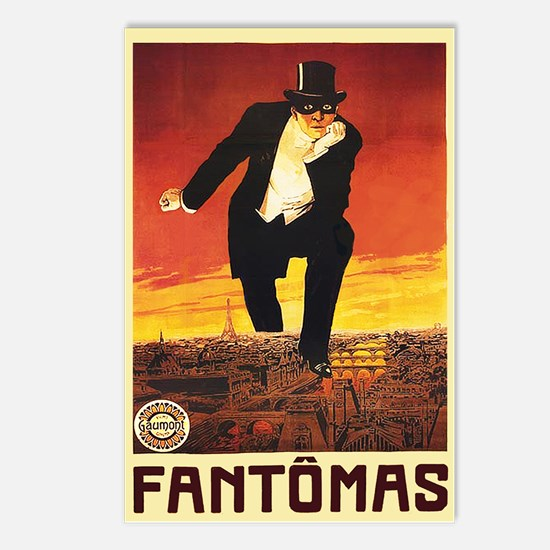 Fantomas 1913 Postcards (Package of 8)