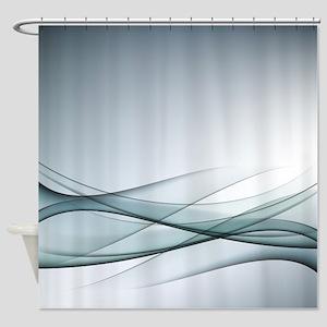 Aqua Abstract Shower Curtain